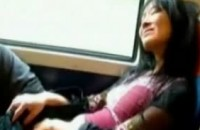 Asian girlfriend rubbing her pussy on the train amatuer